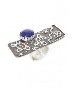 Sterling silver & lapis ring by Alethia Crawford (Navajo)