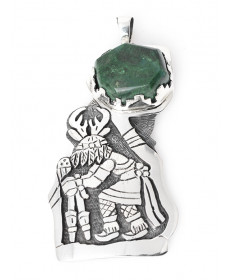 Sterling Silver & Malachite Pendant by Howard Dennis Jr. (Hopi)