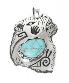 Bear pin/pendant with turquoise by Howard Dennis Jr. (Hopi)
