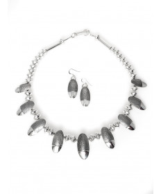 Sterling silver necklace & earring set by Jack Tom (Navajo)