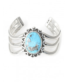 Sterling Silver & Turquoise Bracelet by George Tsouhlarakis (Navajo)