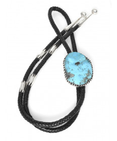 Sterling Silver & Turquoise Bolo Tie by James Fendenheim (Tohono O'odham)