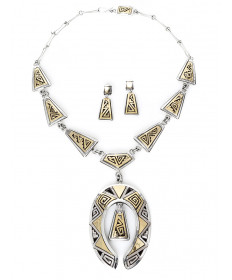 14K & Sterling Silver Necklace & Earrings set by Peter Nelson (Navajo)