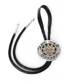 Sterling Silver & 14K Bolo Tie by Watson Honanie (Hopi)