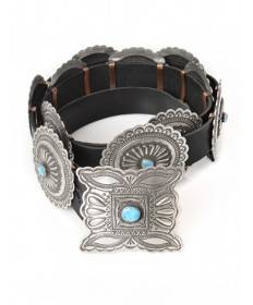 Sterling silver & Blue Gem turquoise concho belt by Herman Smith (Navajo)