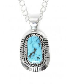Morenci turquoise pendant by George Tsouhlarakis (Navajo)