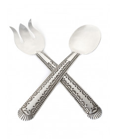 Sterling silver salad set by Francis Tabaha (Navajo)