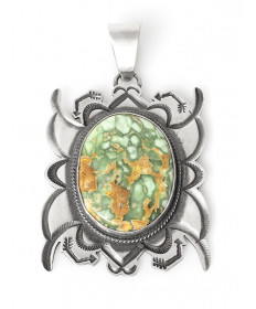 Carico Lake turquoise pendant by Tommy Jackson (Navajo)