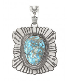 Sterling silver & Kingman turquoise pendant by Tommy Jackson (Navajo)