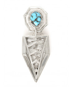 Sterling silver & Candelaria turquoise pendant by Ed Charlie (Navajo)
