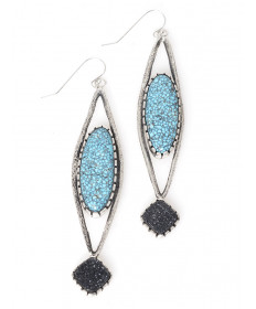 Sterling silver/turquoise/druzy earrings by Cree LaRance (Hopi/Assiniboine)
