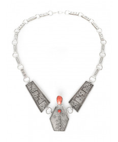 Sterling silver & coral necklace by Joel Pajarito (Santo Domingo)