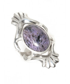 Charoite ring by Lucy Dickson (Navajo)