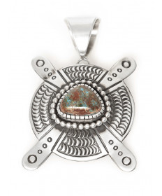 Sterling silver & turquoise pendant by Matthew Charley (Navajo)