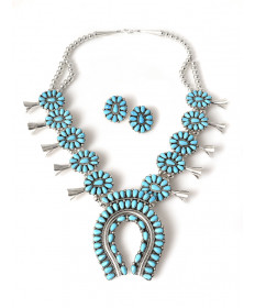 Squash blossom necklace & earring set by Fannie Begay (Navajo)
