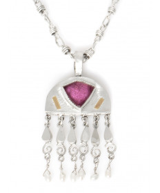 Sterling silver necklace with tourmaline by Shawn Bluejacket (Shawnee)