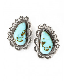 Kingman turquoise earrings by Dio Luna (Navajo)