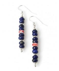 Lapis & shell earrings by Raynard Lalo (Hopi)
