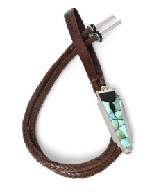 Turquoise & black jade bolo tie by Anthony Garcia (Yaqui)