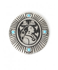 Sterling silver & turquoise pictorial pin by Philbert Begay (Navajo)