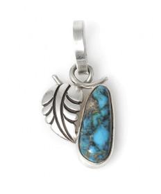Bisbee turquoise leaf pendant by Steve Yellowhorse (Navajo)