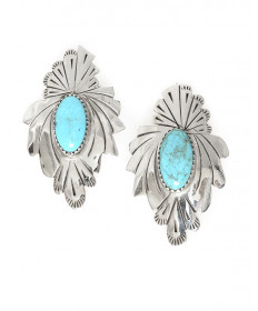 Sterling silver & turquoise earrings by Sheilah Nalwood (Navajo)