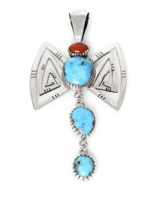 Coral & turquoise pendant by Kee Yazzie (Navajo)