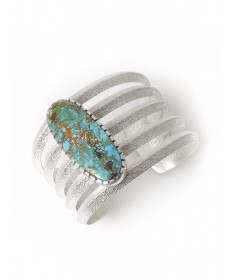 Sterling silver bracelet with turquoise by Darryl Dean Begay (Navajo)