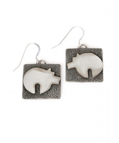 Sterling silver bear earrings by Alex Sanchez (Navajo)