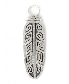 Double-sided feather pendant by Ruben Saufkie (Hopi)