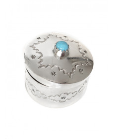 Miniature box with turquoise by Wesley Whitman (Navajo)