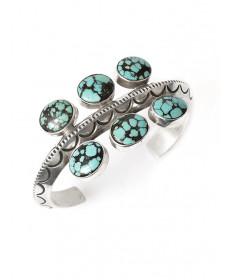 Sterling silver & Persian turquoise bracelet by Mike Bird Romero (San Juan)