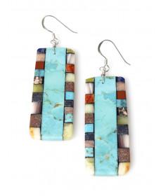 Multi-stone earrings by Mary Tafoya (Santo Domingo)