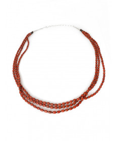 3-strand coral & heishi necklace by Lester Abeyta (Santo Domingo)