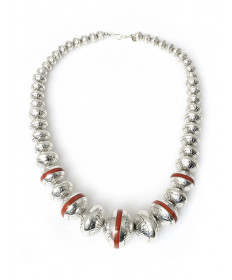 Sterling silver beads inlaid with coral by Marie Yazzie (Navajo)