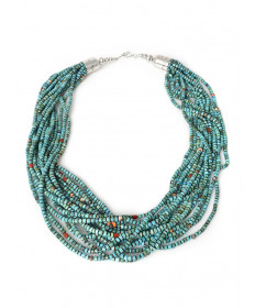 15-strand Chinese turquoise necklace by Colina Yazzie (Navajo)