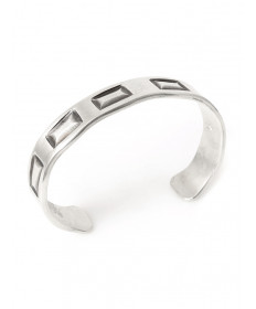 Sterling silver bracelet by James Faks (Blackfeet/Oneida)