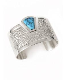 Sterling silver & Morenci turquoise bracelet by Carlton Jamon (Zuni)