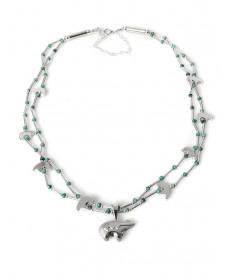 Bear Kingman tuquoise necklace by Carlton Jamon (Zuni)