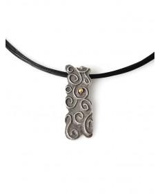 Sterling silver pendant with 18K accent by Glenda Loretto (Jemez)