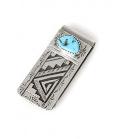 Sterling silver & turquoise money clip by Peter Nelson (Navajo)