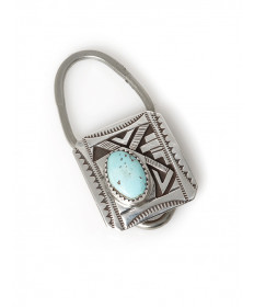 Sterling silver & turquoise key ring by Peter Nelson (Navajo)
