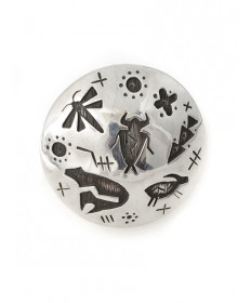 Sterling silver petroglyph ring by Kee Yazzie (Navajo)