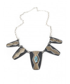 Kingman turuquoise necklace by Mark Roanhorse Crawford (Navajo)