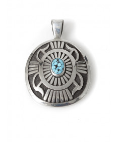 Sterling silver & turquoise pendant by Howard Nelson (Navajo)