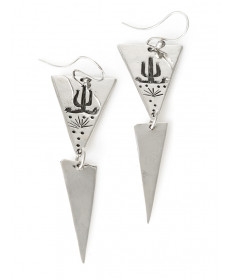 Sterling silver desert earrings by James Fendenheim (Tohono O'odham)