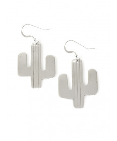 Sterling silver cactus earrings by Veronica Thompson (Navajo)