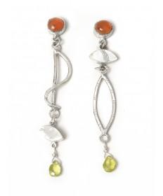 Tourmaline & silver earrings by Shawn Bluejacket (Shawnee)