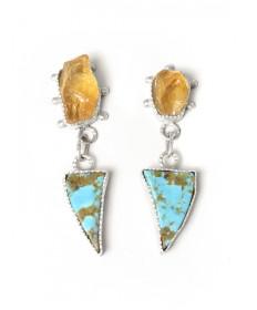 Citrine & turquoise earrings by Shawn Bluejacket (Shawnee)