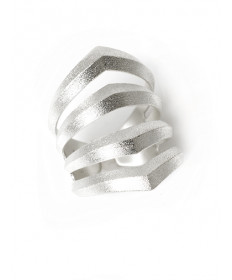 Sterling silver rhomboid pierced ring by Maria Samora (Taos)